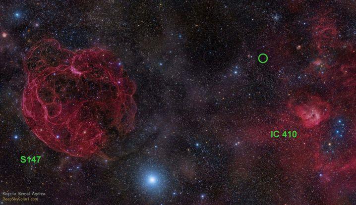 Optische Himmelsaufnahme der Region, wo FRB 121102 entdeckt wurde