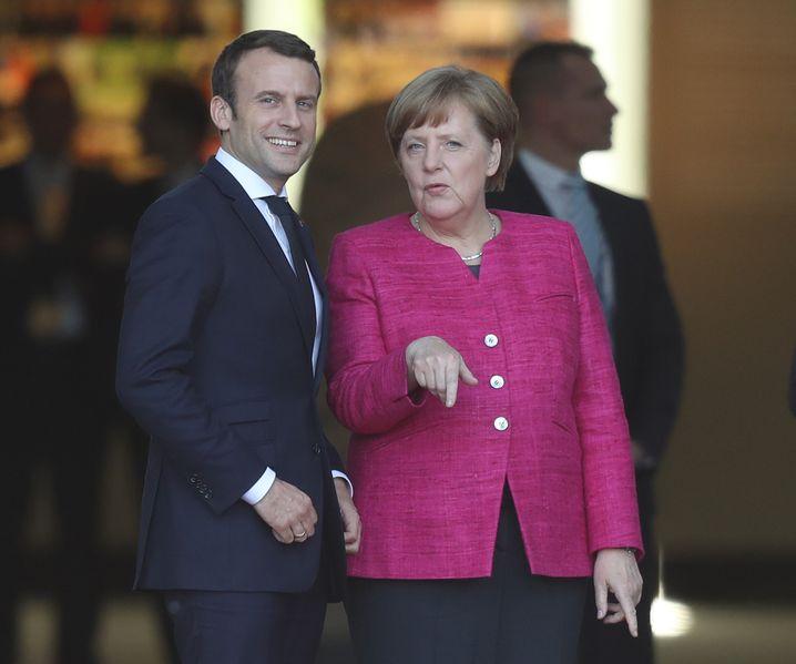 Frankreichs Staatspräsident Macron und Merkel in Berlin