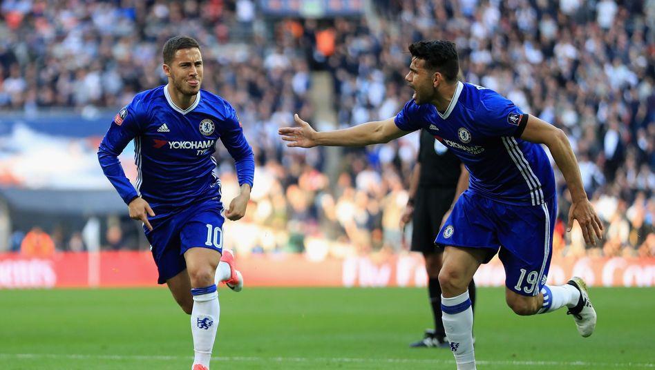 Chelseas Eden Hazard (l.) und Diego Costa