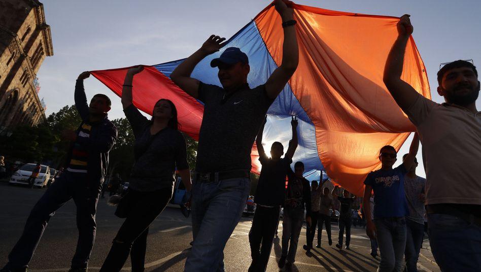 Demonstranten in Armeniens Hauptstadt Eriwan