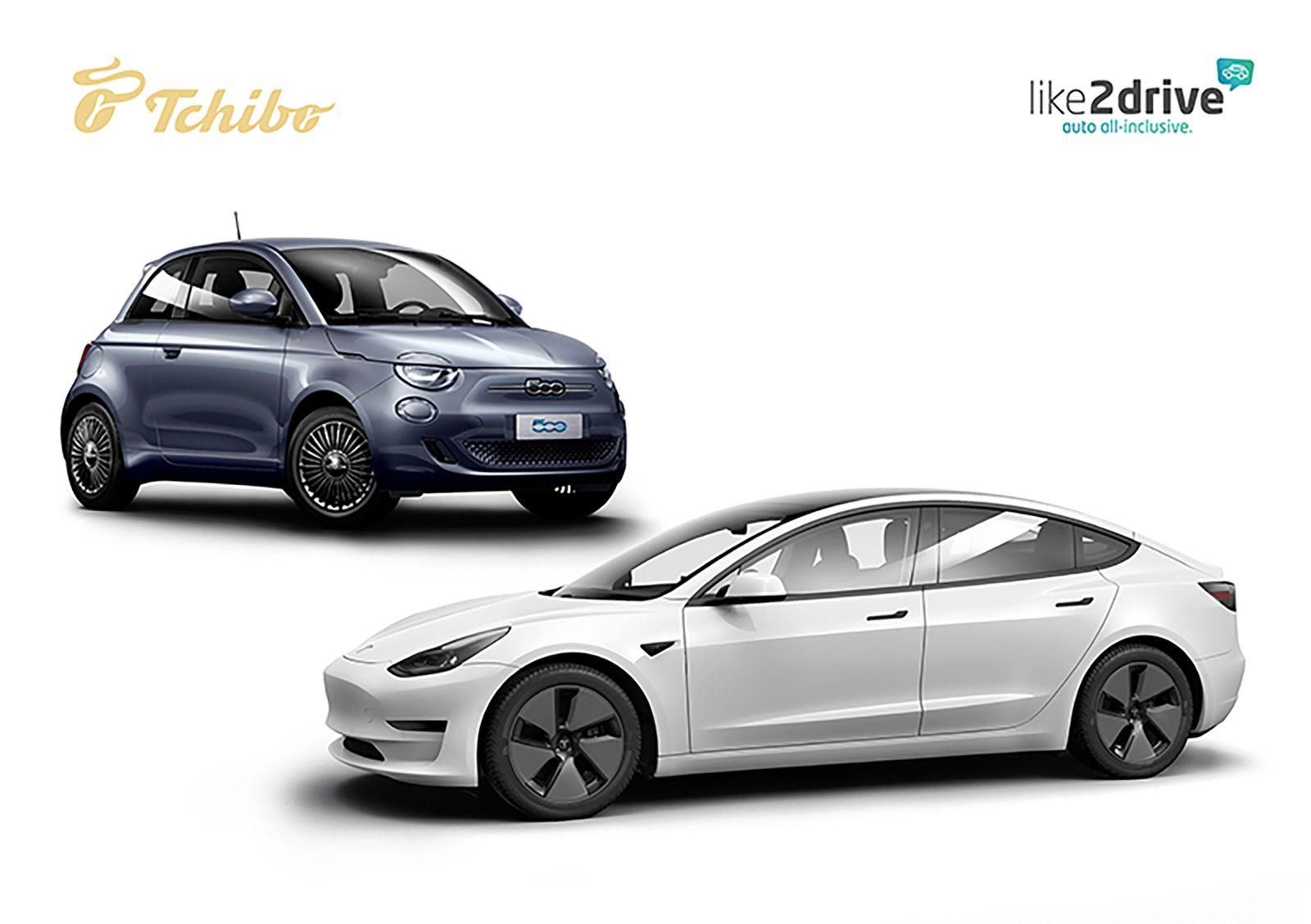Tchibo Abo für Autos mit Tesla Model 3 und Fiat 500