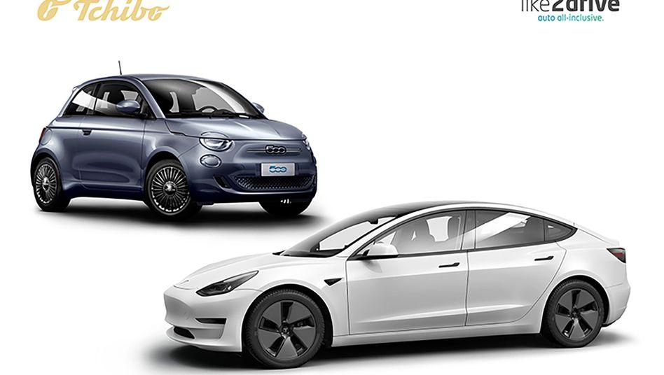 Tchibo vertreibt Fahrradhelme, Büstenhalter oder Grillschürzen, sowie natürlich Kaffee — und ab sofort auch Elektroautos auf Zeit. Die Fahrzeugtypen Tesla Model 3 und Fiat 500e werden in Kooperation mit dem Autoabo-Anbieter »like2drive« angeboten.