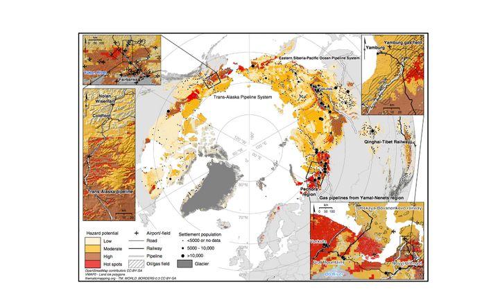 Risiko-Karte mit Detailansicht von Zentral-Alaska und der nordwestlichen russischen Arktis