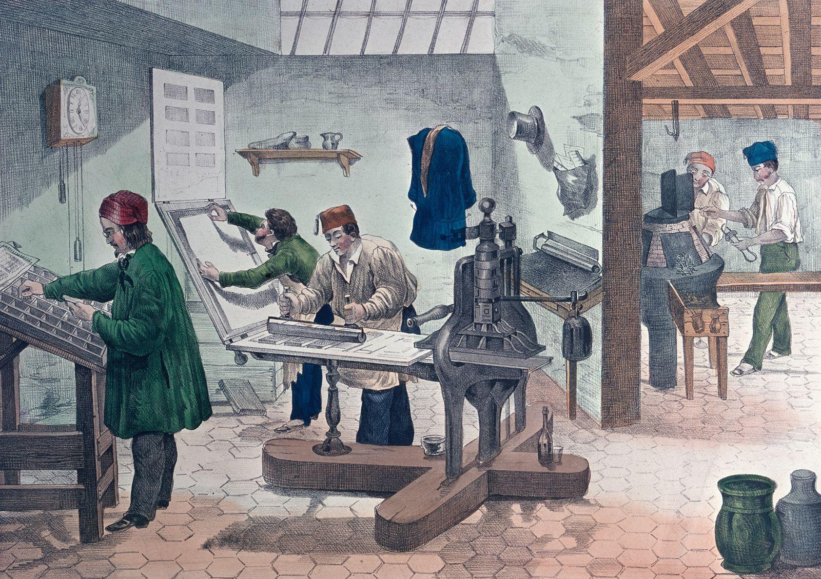Schriftgie?er, Schriftsetzer und Buchdrucker in einer Werkstatt