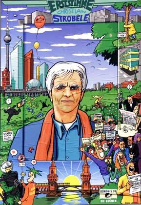 Mit diesem Comic-Plakat wirbt Ströbele für sich als Bundestags-Direktkandidat