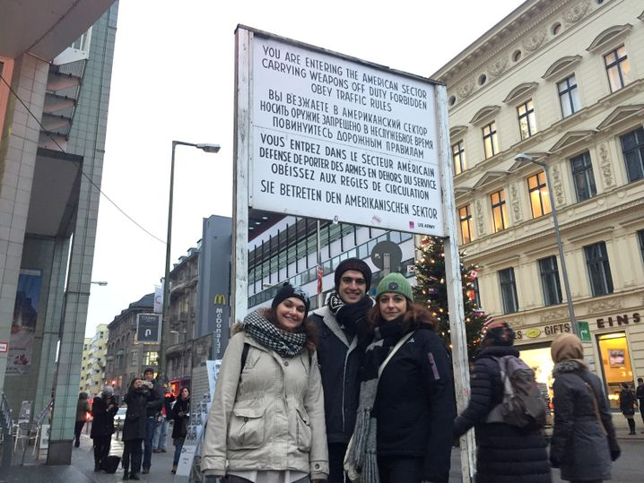 Anna Puggioni with her daughter and her son at Checkpoint Charlie