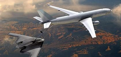 Betankung eins B-2 Langstreckenbombers der United States Air Force durch ein Tankflugzeug vom Typ Airbus KC-30 (Computergrafik): Riesen-Deal neu ausgeschrieben