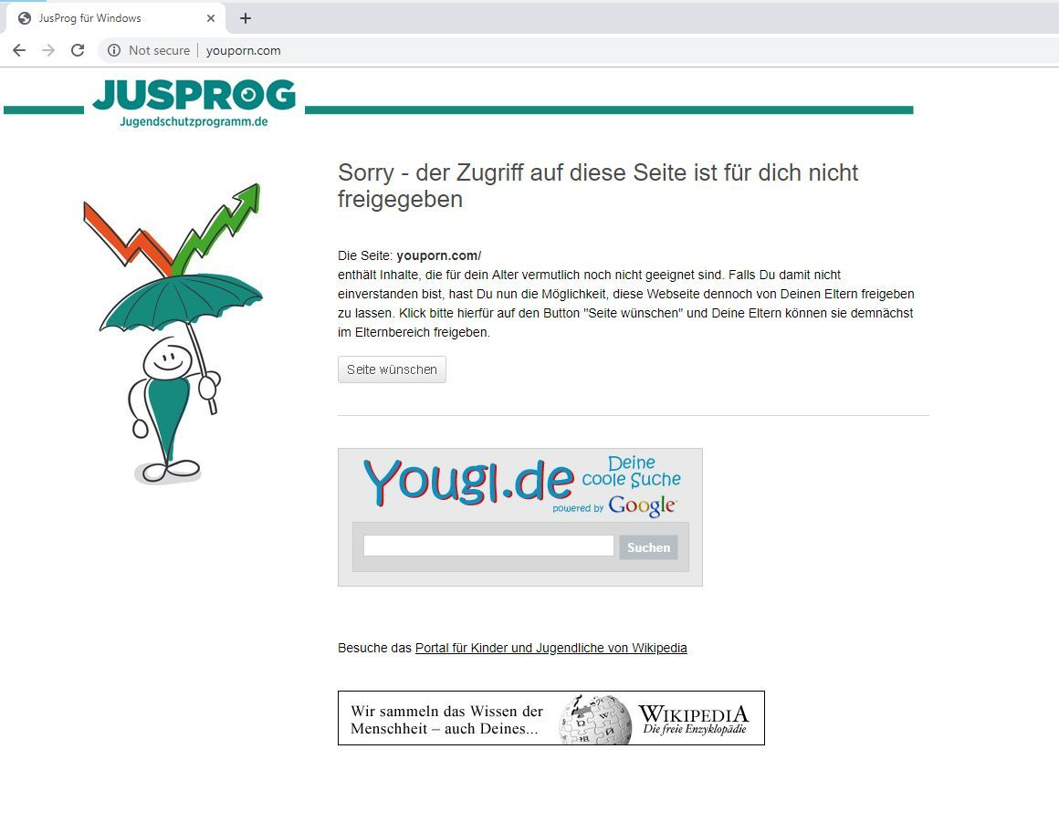NUR ALS ZITAT Screenshot JusProg/ Jugendschutz