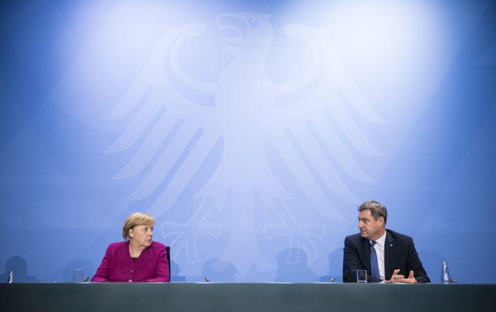 Anti-Corona-Politiker Merkel, Söder am vergangenen Mittwoch nach Bund-Länder-Gipfel