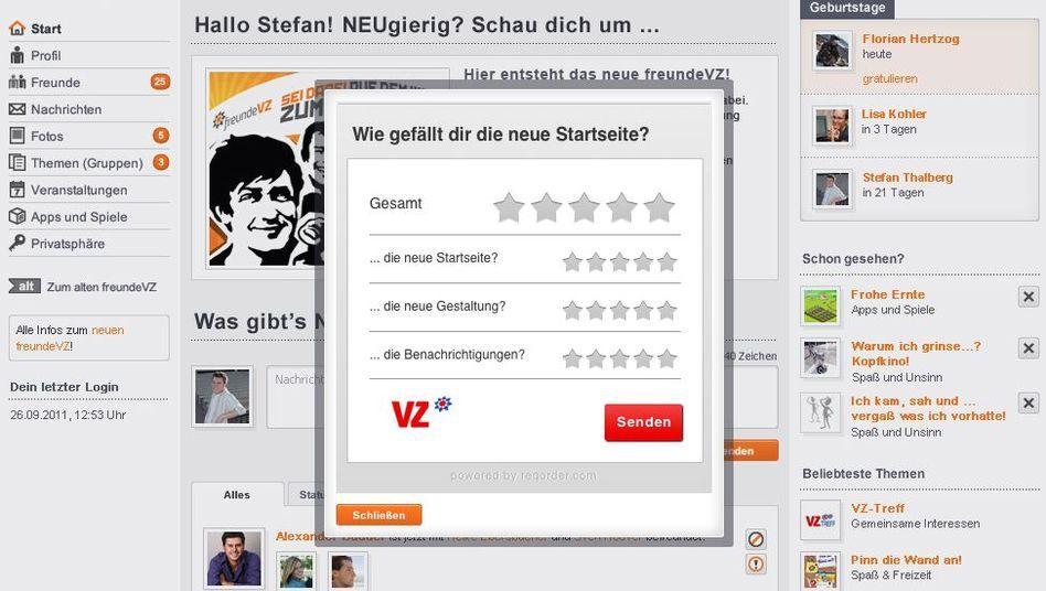 Screenshot aus dem überarbeiteten MeinVZ: Per Klick kann man zur alten Version wechseln