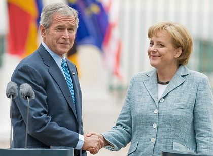 US President George W. Bush and German Chancellor Angela Merkel: a flattering view of Germany