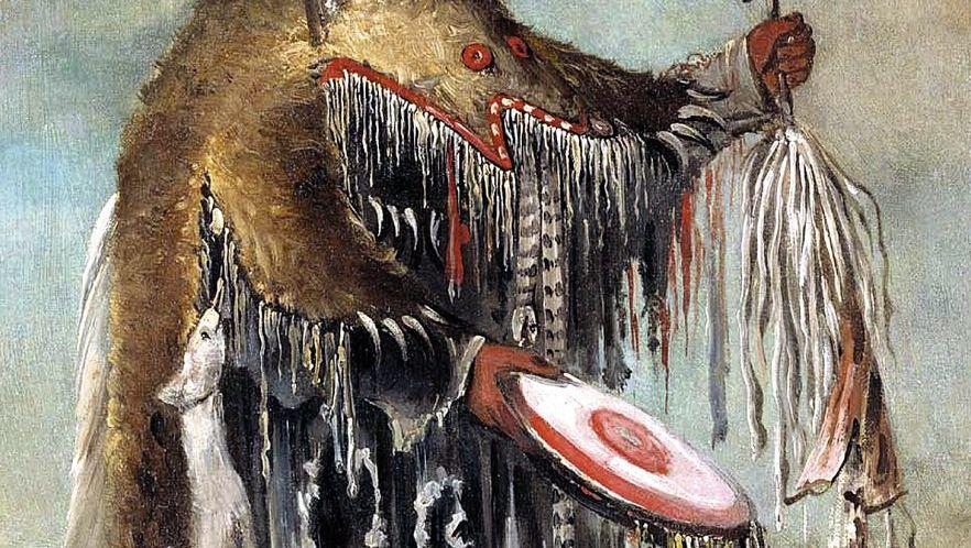 Medizinmann der Schwarzfuß-Indianer: (Gemälde von 1832)