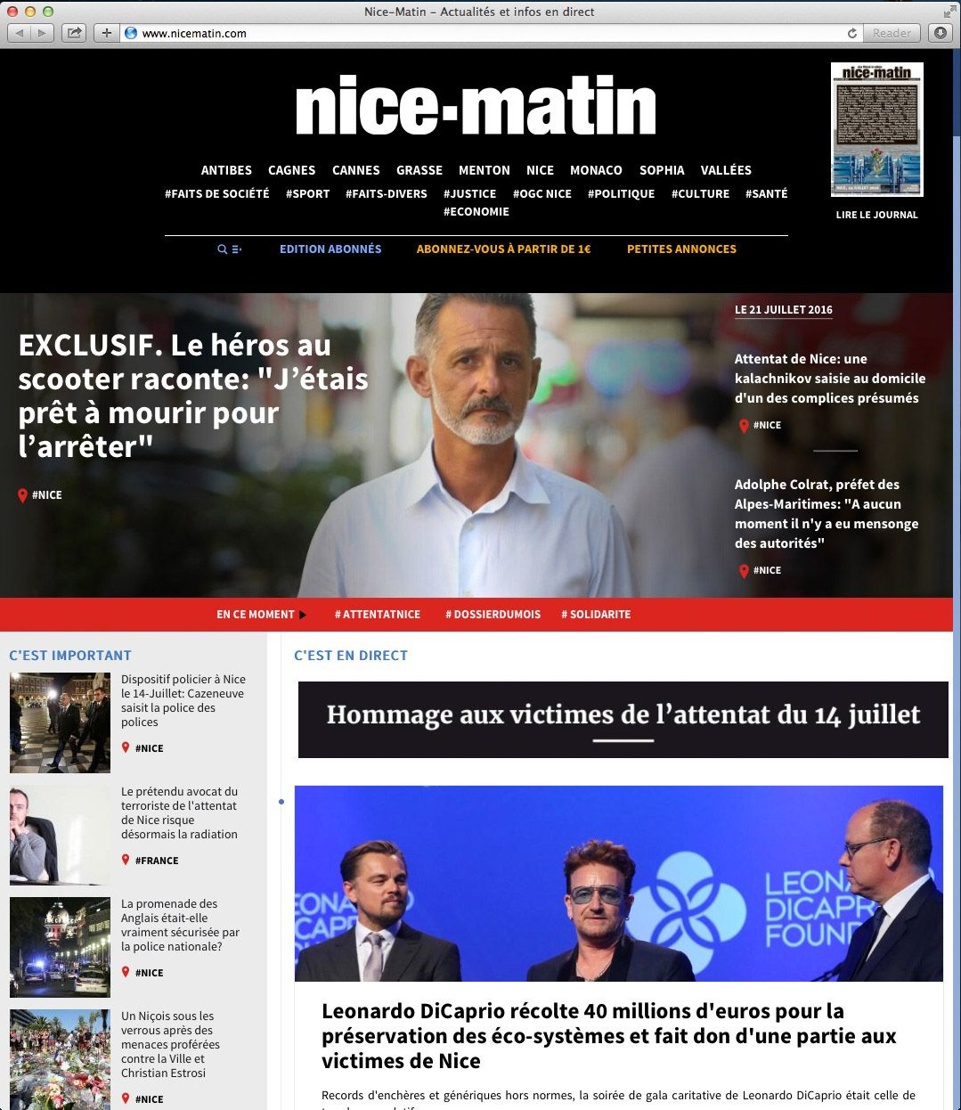 EINMALIGE VERWENDUNG Screenshot / www.nicematin.com