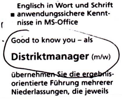 """Perfektes Denglisch: Stellenanzeige von Randstad, """"Süddeutsche Zeitung"""", 17.4.2004"""