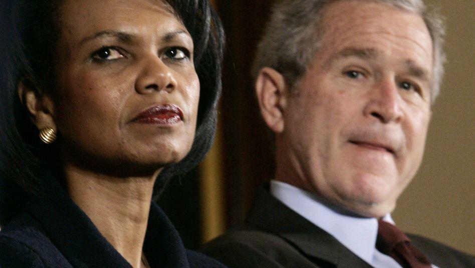 Ex-Außenministerin Rice, Ex-Präsident Bush: Witzeln über Gerhard Schröder