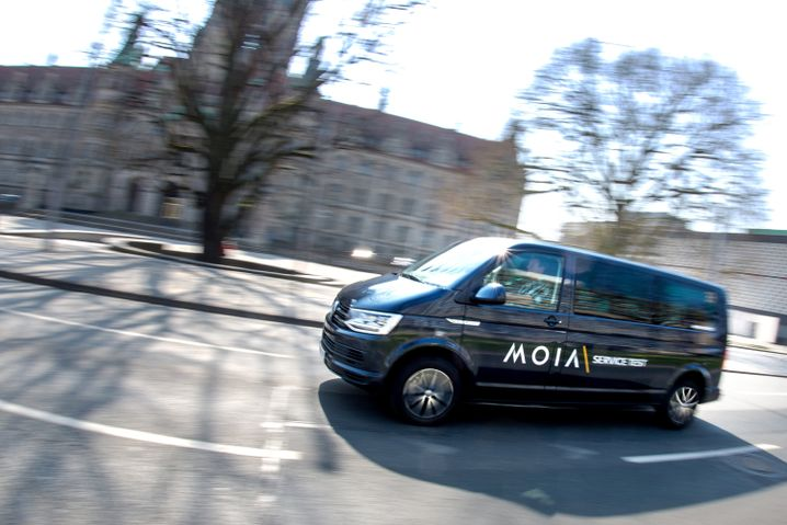 A vehicle with Hamburg's MOIA group taxi service