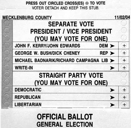 Stimmzettel 2004: Verdorbene Stimmen