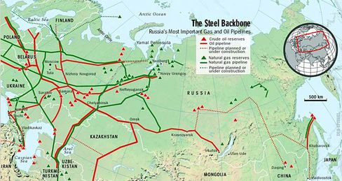 Russia's deposits and pipelines