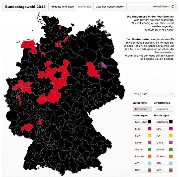 Karte der Erststimmen-Ergebnisse (Screenshot): Merkelschwarzes Angeland