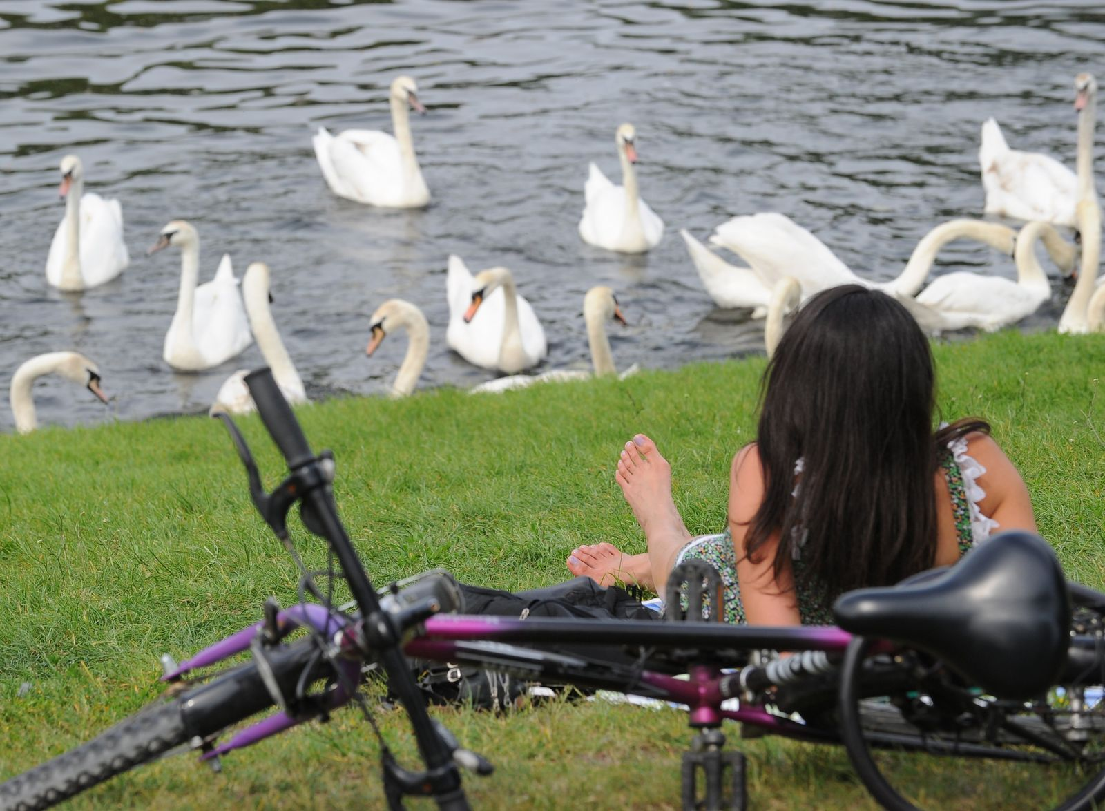 Fahrradfahrerin in Berlin