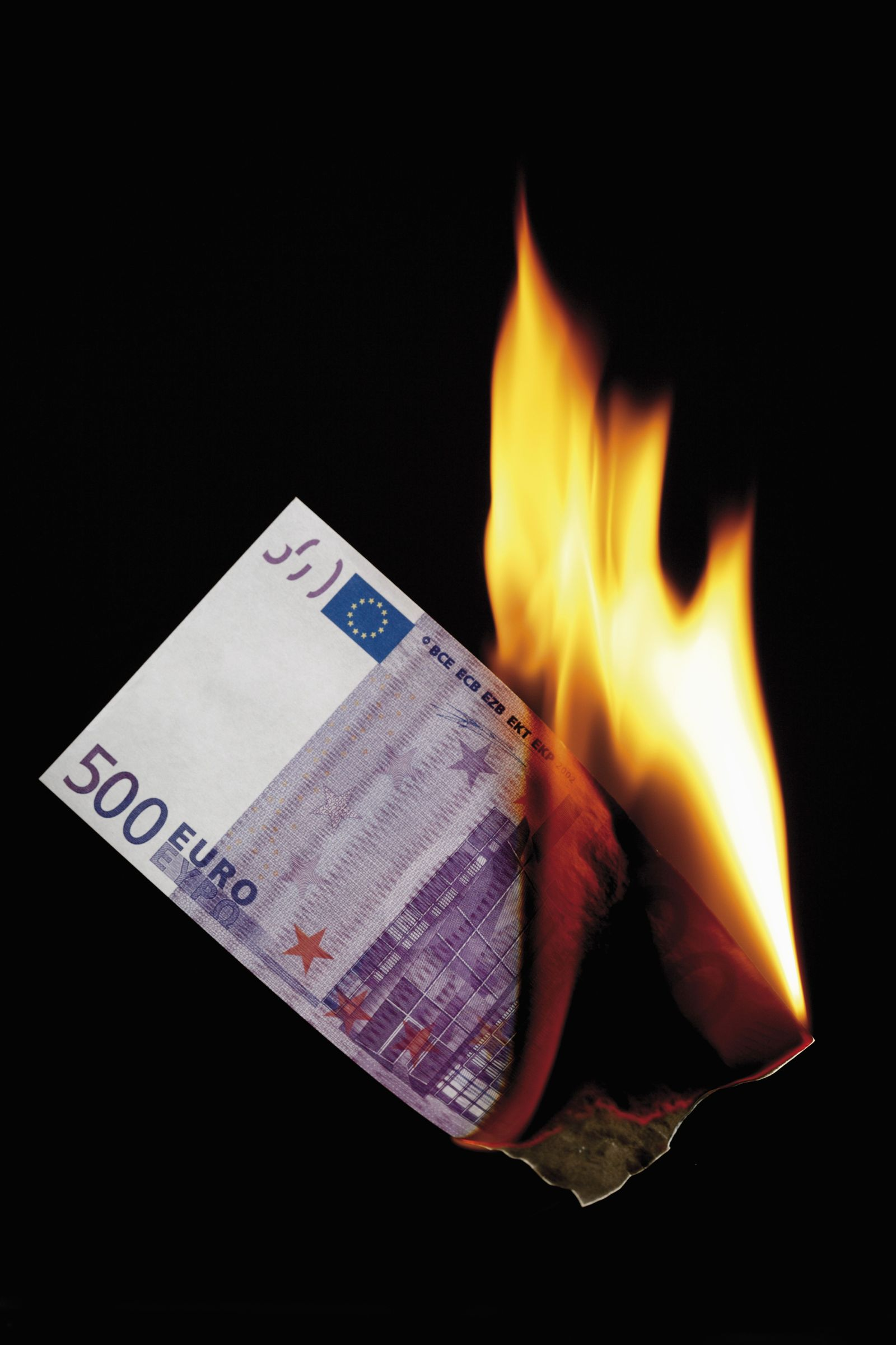 NICHT MEHR VERWENDEN! - Brennender Euroschein / Euro in der Krise / Feuer