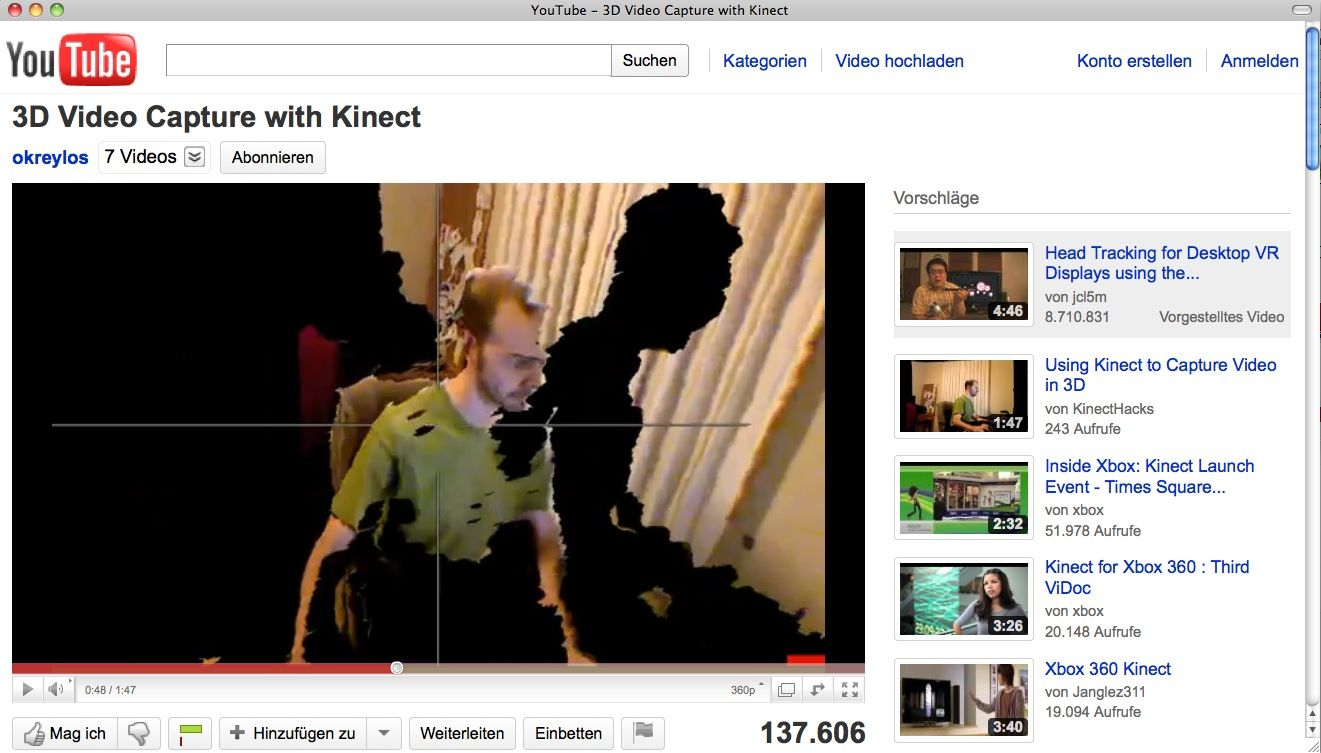 EINMALIGE VERWENDUNG SCREENSHOT YouTube / Kinect