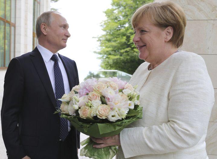 Blumen für die Bundeskanzlerin