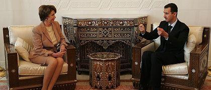 U.S House Speaker Nancy Pelosi, left, meets with Syrian President Bashar Assad in Damascus, Syria.
