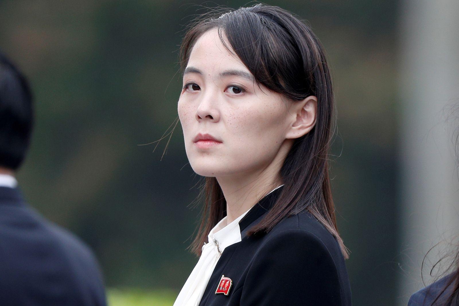 FILE PHOTO: Kim Yo Jong, sister of North Korea's leader Kim Jong Un attends wreath laying ceremony at Ho Chi Minh Mausoleum in Hanoi