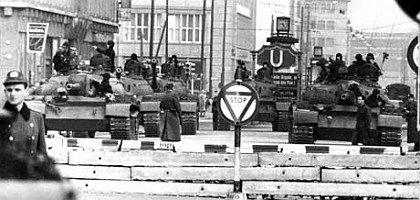 Soviet tanks at Checkpoint Charlie on October 28, 1961.