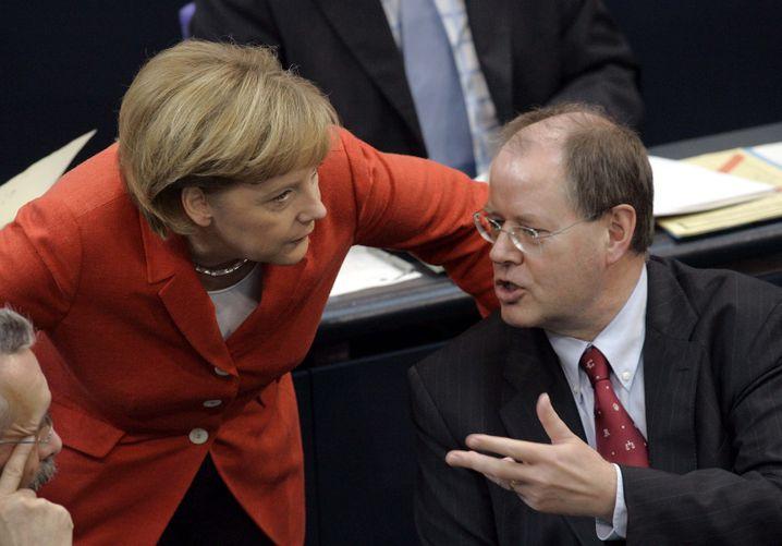 Merkel, Steinbrück: Konjunkturrettung mit Milliardenschulden