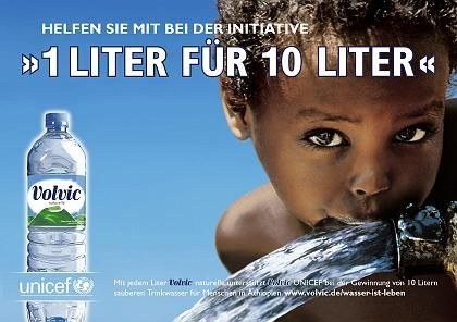 """Although unclear slogans like """"1 liter for 10 liters"""" sound good, what do they actually mean? In reality Volvic donates a mere 0.28 cents for every liter of mineral water sold."""