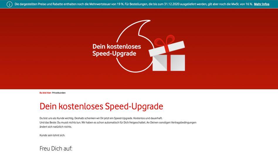 Laufzeit und Preis bleiben gleich, versichert Vodafone auf der Info-Seite