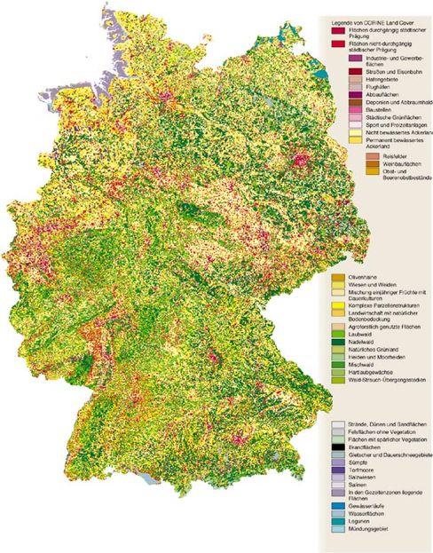 Landnutzung: Rot steht für städtische Prägung, beige und gelb für Landwirtschaft