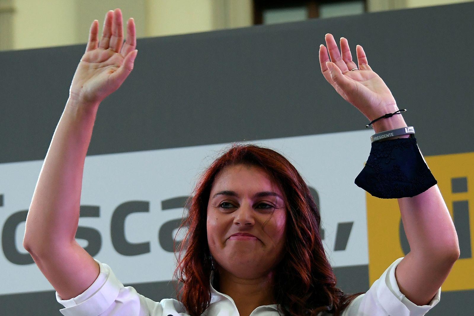 Right-wing leaders Matteo Salvini, Antonio Tajani and Giorgia Meloni close their electoral campaign in Florence