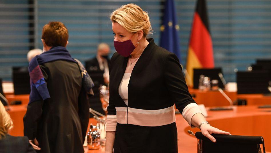 Familienministerin Franziska Giffey am Mittwoch im Kabinett