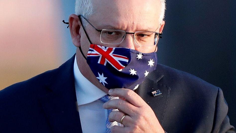 Premier Scott Morrison mit Maske im Design der australischen Flagge (Archivbild)