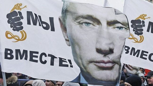 Pro-Putin-Fahne