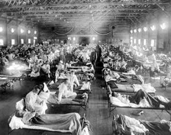 Opfer der Spanischen Grippe von 1918 in einem US-Krankenhaus: Bis zu 40 Millionen Tote