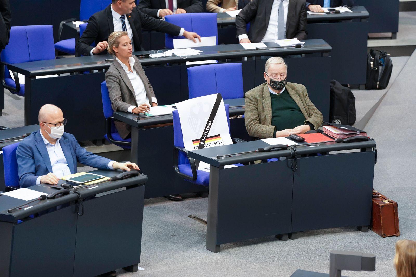 191. Sitzung des Deutschen Bundestages und Debatte Aktuell, 18.11.2020, Berlin, Die Fraktion der AfD mit einer Aktion i