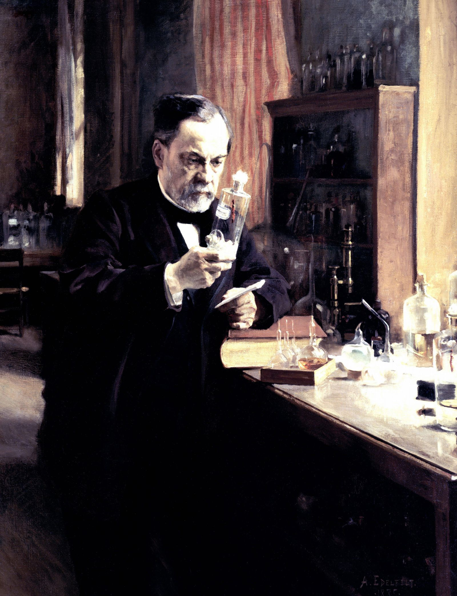Louis Pasteur 1822 1895 French chemist and biologist at work in his laboratory c1889 Pioneer of i