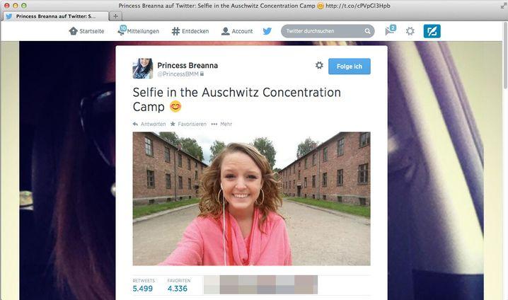 Tweet von Breanna: Ich in Auschwitz