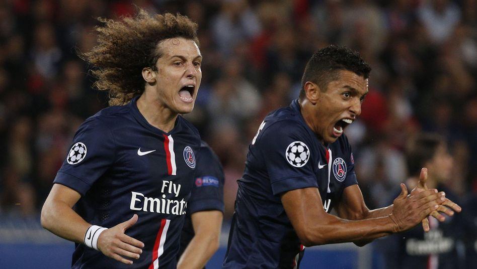 PSG-Stars David Luiz (links), Marquinhos: Starker Auftritt gegen Barcelona