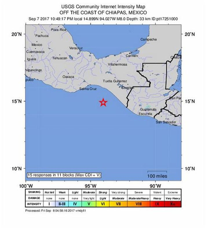 Epizentrum des Erdbebens