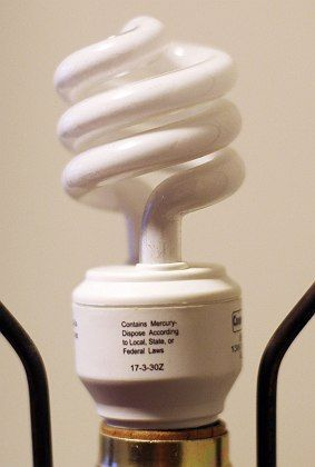 Compact fluorescent light bulb require only one-fifth the energy of a standard light bulb.