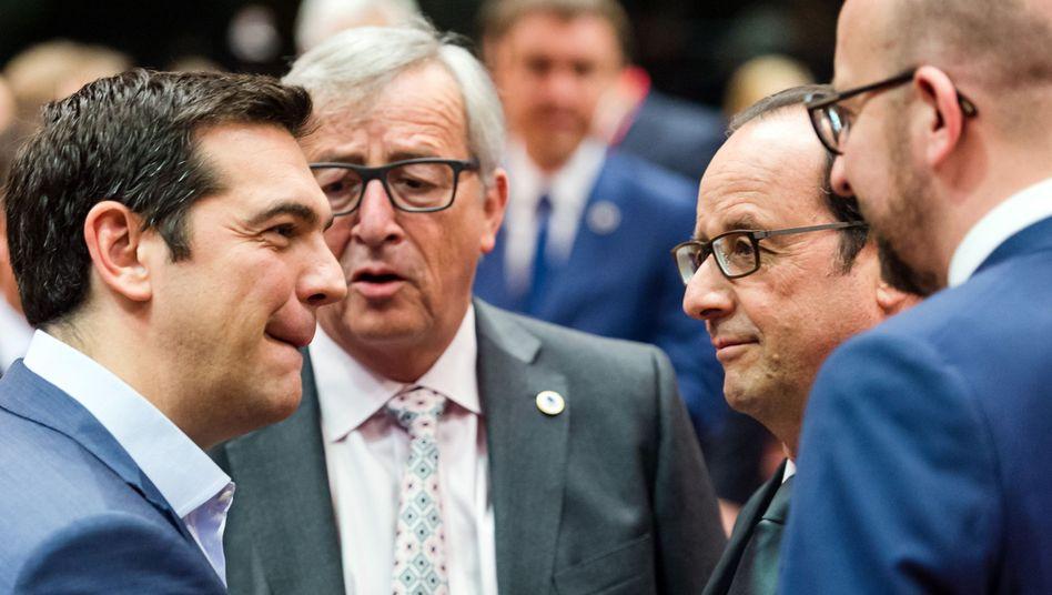 Tsipras, Juncker, Hollande: Verhandlungen fast gescheitert