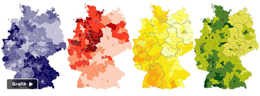 Die Hochburgen der Parteien und Nichtwähler: Klicken Sie auf die Grafik