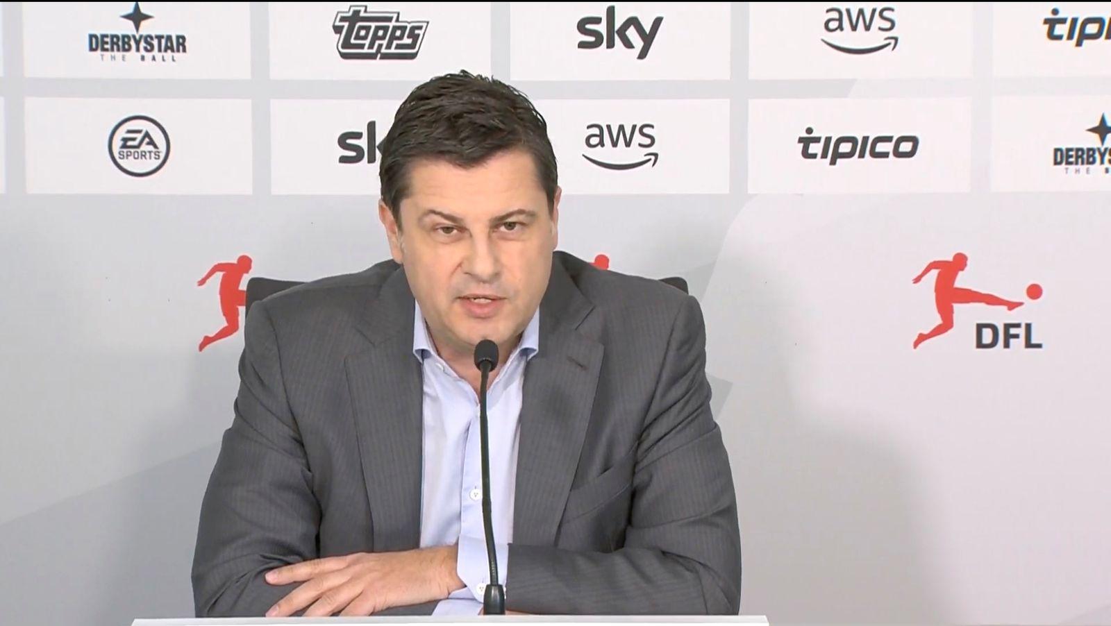 Video grab shows Deutsche Fussball Liga (DFL) CEO Seifert making a statement in Frankfurt