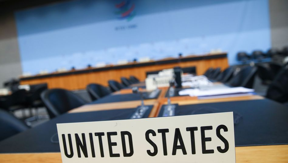 """A """"United States"""" placard at the headquarters of the World Trade Organization in Geneva"""