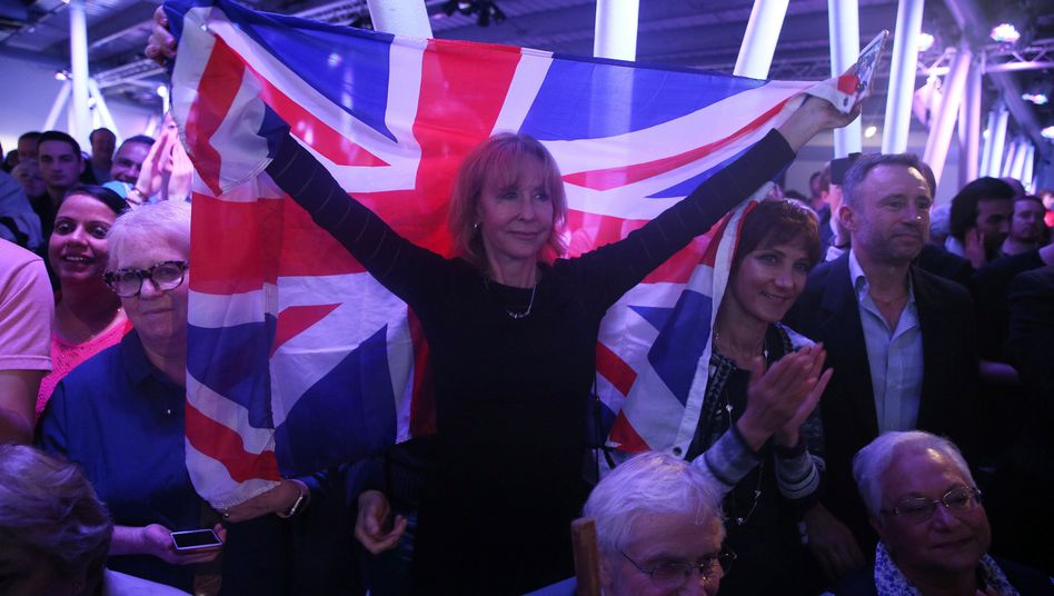A Brexit supporter at a Vote Leave rally in London.